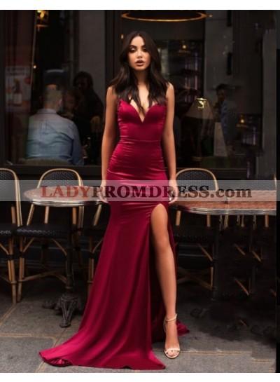 2021 V Neck Mermaid Split-Front Backless Satin Prom Dresses