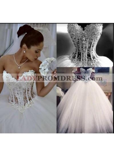 2021 Charming Ball Gown Ivory Tulle Sweetheart Spaghetti Straps Floor Length Wedding Dresses