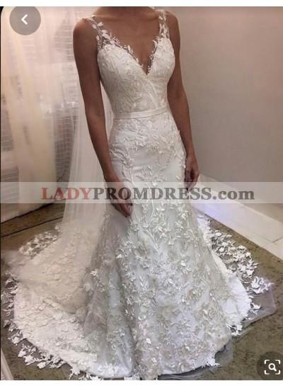 2021 V-neck Mermaid Lace Wedding Dresses