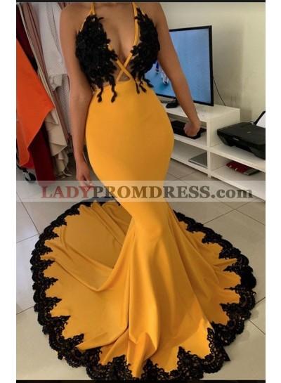 2021 Mermaid Orange V-neck Sleeveless Zipper Sweep Train Prom Dresses