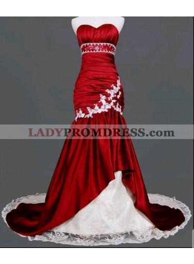 2021 Red Mermaid Sleeveless Chapel Train Wedding Dresses