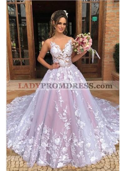 2021 Glamorous Dusty Rose Ball Gown V Neck Sleeveless Lace Prom Dresses