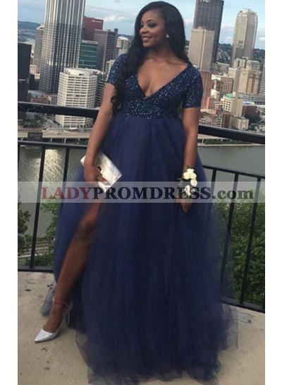 Royal Blue Tulle High Waist Short Sleeves Sequence Side Slit Plus Size V Neck Prom Dresses