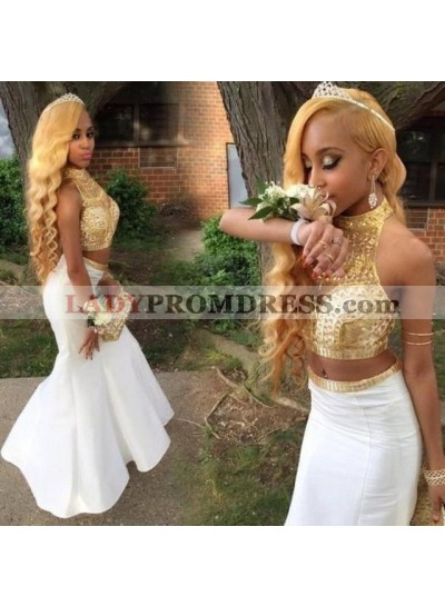 2021 Cheap Mermaid High Neck Two Pieces Gold and White Prom Dresses