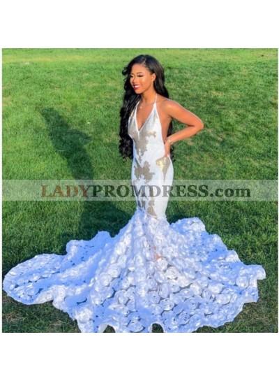 2020 Junoesque Halter Backless White Prom Dresses