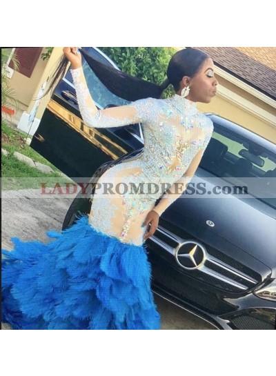 2021 New Designer Long Sleeve Beaded Prom Dresses