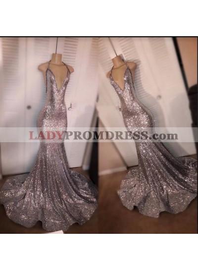 Halter 2021 V Neck Sequence Mermaid Prom Dresses