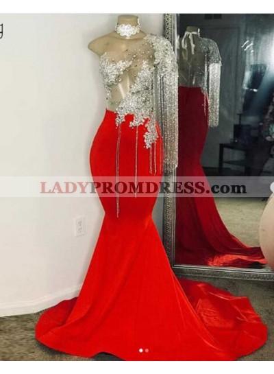 2021 New Arrivel One Sleeve Mermaid Prom Dresses