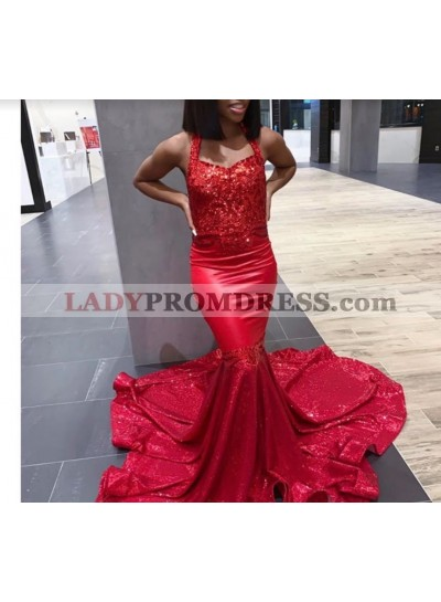 Cheap Halter Red Mermaid Prom Dress 2021