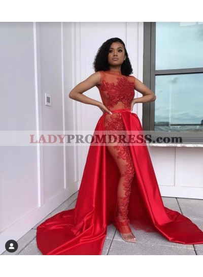 2021 Sexy A-Line Red Long Prom Dress