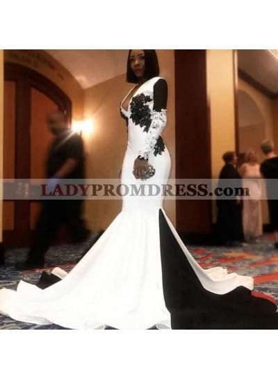 2021 New Designer Long Sleeve V-neck Prom Dress