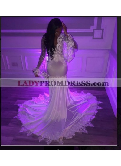 2020 New Arrival Long Sleeve White Prom Dress