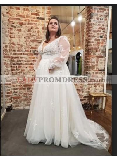 2021 Deep V Neck Long Sleeves Lace Wedding Dresses