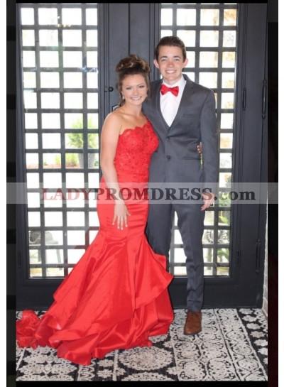 One Shoulder Red Mermaid Satin Prom Dresses
