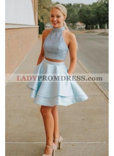 light Blue Two Piece Short Prom Dresses