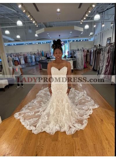 Sweetheart Mermaid Backless Lace Ivory Wedding Dresses