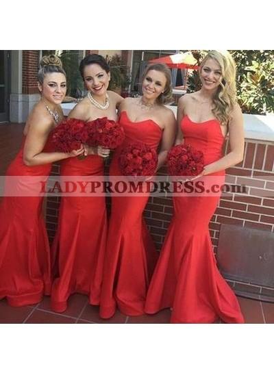 2021 Sexy Mermaid Red Sweetheart Satin Bridesmaid Dresses