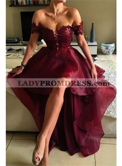2019 Unique Burgundy Off the Shoulder High Low Lace Prom Dresses