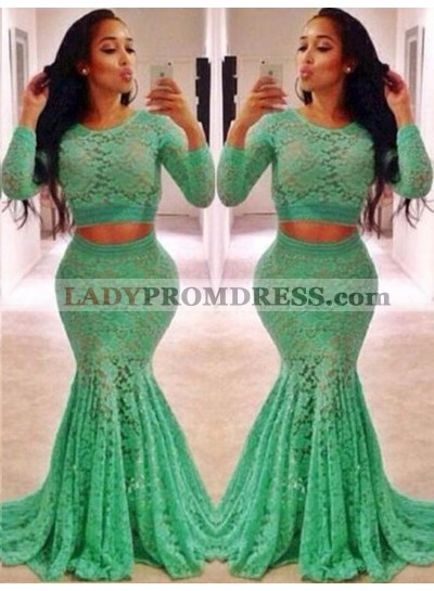 Long Sleeve Mermaid/Trumpet Lace Two Pieces Prom Dresses