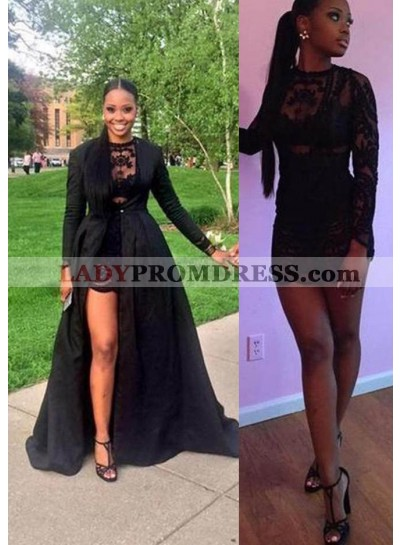 2021 Junoesque Black Lace Crew Neck A-Line/Princess Satin Prom Dresses