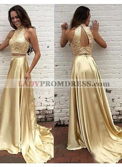 New Arrival Princess/A-Line Gold Two Pieces Satin Prom Dresses