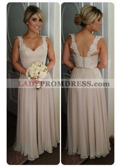 2021 New Arrival Champagne A Line Chiffon Floor Length Bridesmaid Dresses / Gowns