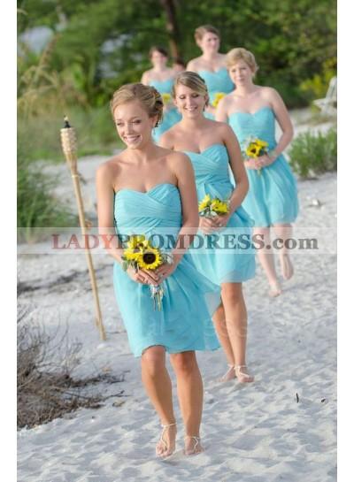2021 Cheap A Line Chiffon Blue Ruffles Sweetheart Short Bridesmaid Dresses / Gowns
