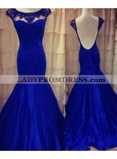 LadyPromDress 2019 Blue Beading Backless Mermaid/Trumpet Taffeta Prom Dresses
