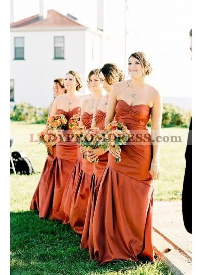 2021 Cheap Tight Satin Orange Sweetheart Ruffles Long Bridesmaid Dresses / Gowns