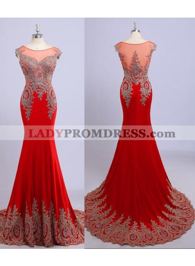 2018 Gorgeous Red Illusion Appliques Mermaid/Trumpet Chiffon Prom Dresses