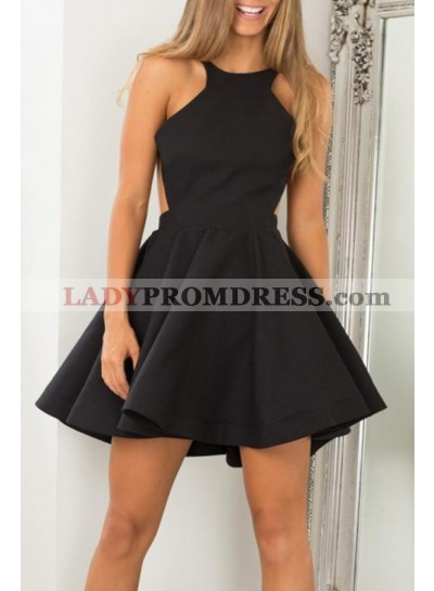Short Black Princess/A-Line Satin Prom Dresses