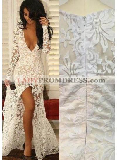 2019 Unique White V-Neck High-Slit Lace Prom Dresses