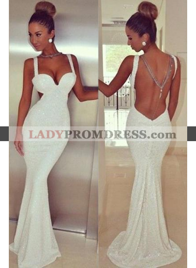2019 Unique White Sequined Straps Sheer Back Mermaid/Trumpet Prom Dresses