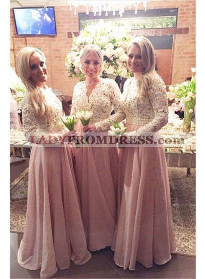 2021 Cheap A Line Pearl Pink Lace Long Sleeves V Long Bridesmaid Dresses / Gowns