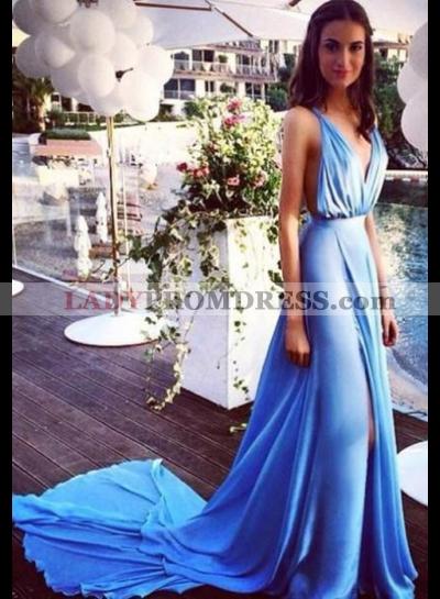 LadyPromDress 2020 Blue Front-Slit Spaghetti Straps Chiffon Prom Dresses