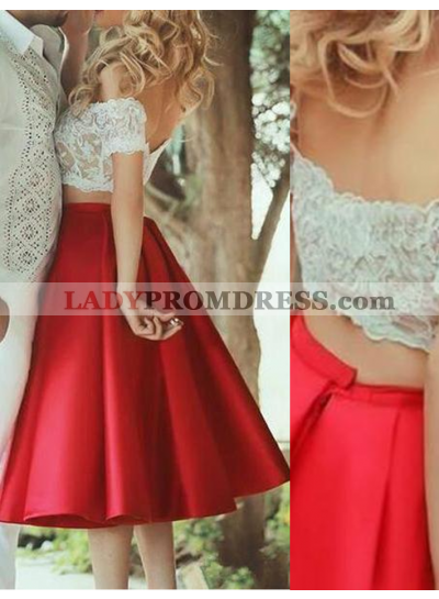 2019 Gorgeous Red Off-the-Shoulder Lace Satin Two Pieces Prom Dresses
