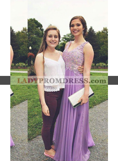 Appliques Straps Chiffon Prom Dresses Lilac