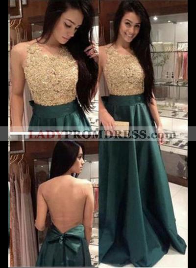 Beading A-Line/Princess Satin Prom Dresses Dark Green