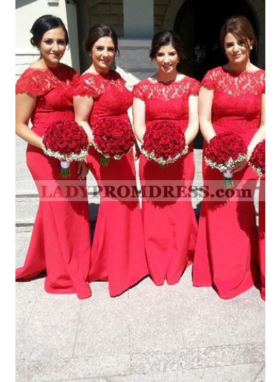 2021 Charming Red Mermaid Satin Long Capper Sleeves Bridesmaid Dresses / Gowns
