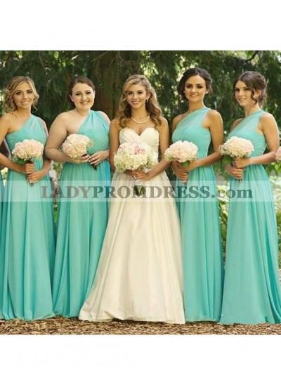 2021 Chiffon One Shoulder A Line Turquoise Long Bridesmaid Dresses
