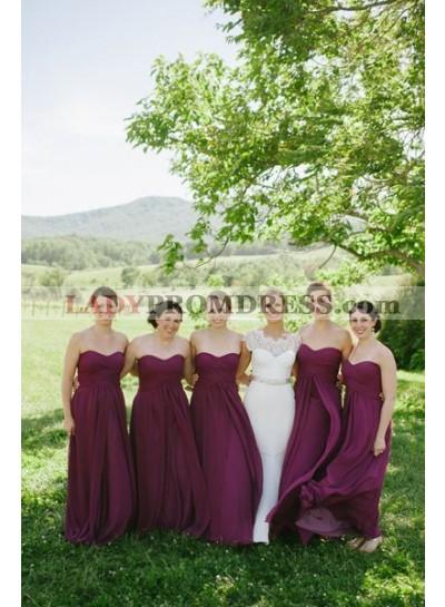 2021 Cheap A Line Burgundy Chiffon Long Ruffles Strapless Bridesmaid Dresses / Gowns