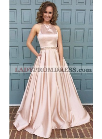 2021 Siren Princess/A-Line Pink Satin 2021 Cheap Prom Dresses
