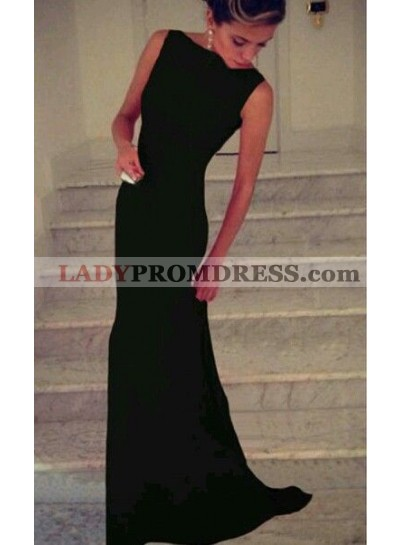 2020 Elegant Black Column/Sheath Satin Prom Dresses
