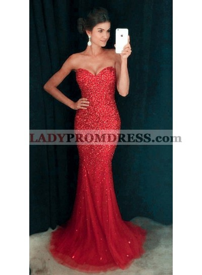 2019 Siren Red Mermaid/Trumpet Tulle Sequence Prom Dresses