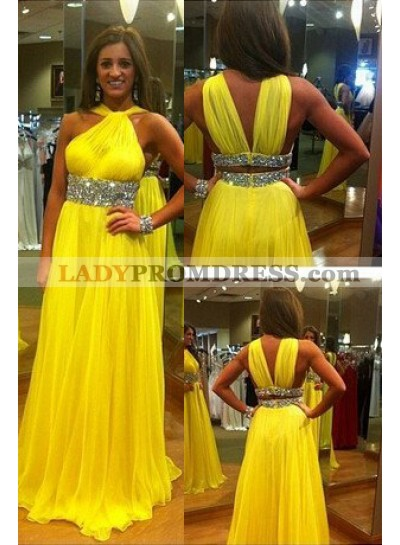 Floor-Length/Long Halter A-Line/Princess Chiffon Prom Dresses