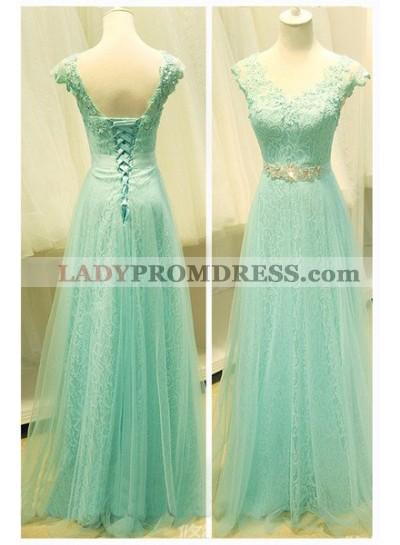 Floor-Length/Long A-Line/Princess V-Neck Organza Prom Dresses