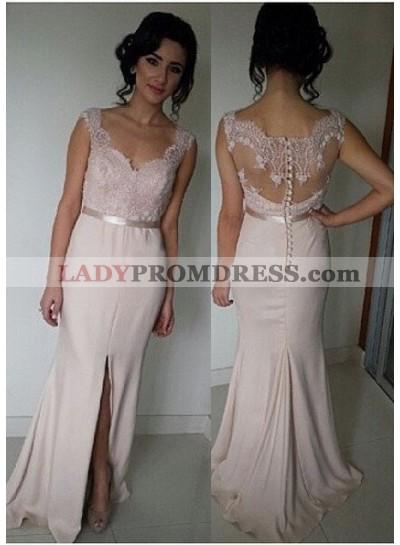 Floor-Length/Long V-Neck Column/Sheath Chiffon Pearl Pink Prom Dresses