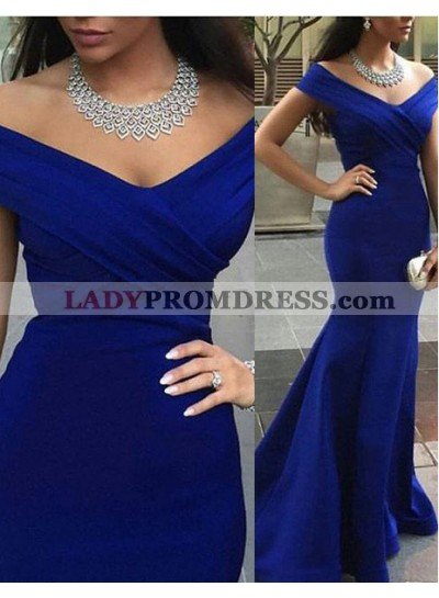 LadyPromDress 2018 Blue Off-the-Shoulder Mermaid/Trumpet Satin Prom Dresses