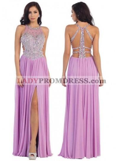 Beading Jewel Neck Front-Slit Chiffon Prom Dresses