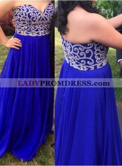LadyPromDress 2019 Blue Beading Sweetheart A-Line/Princess Chiffon Prom Dresses